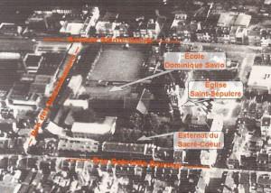 1950 : Photo aérienne du quartier de Canteleu - Collège Dominique SAVIO